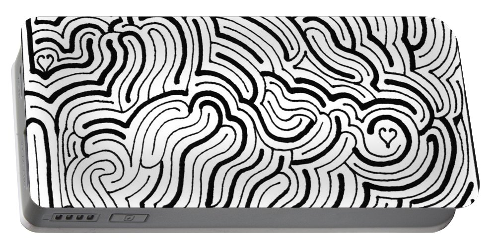 Mazes Portable Battery Charger featuring the drawing Seeking by Steven Natanson