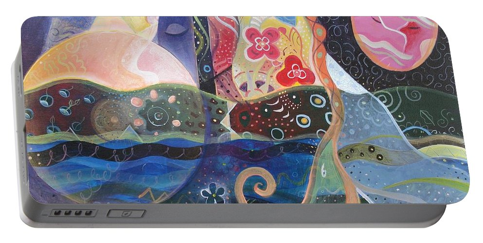 Seeker Portable Battery Charger featuring the painting Seeking Wisdom by Helena Tiainen