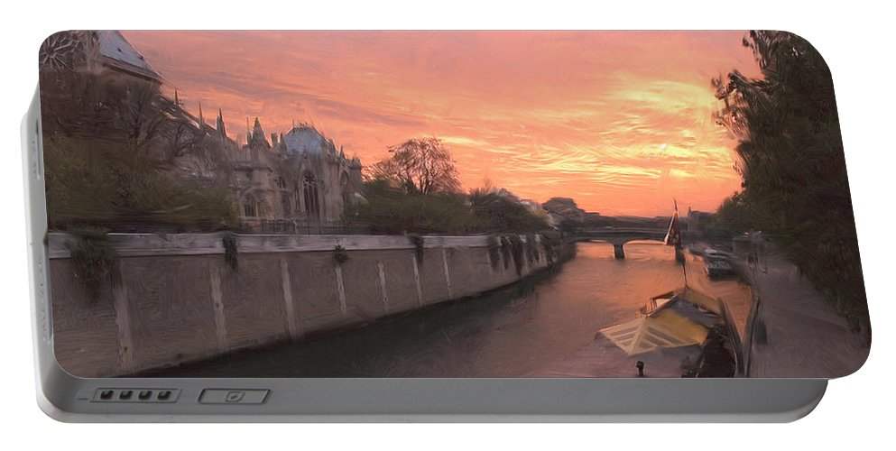 Paris Portable Battery Charger featuring the digital art Seine River by Mick Burkey