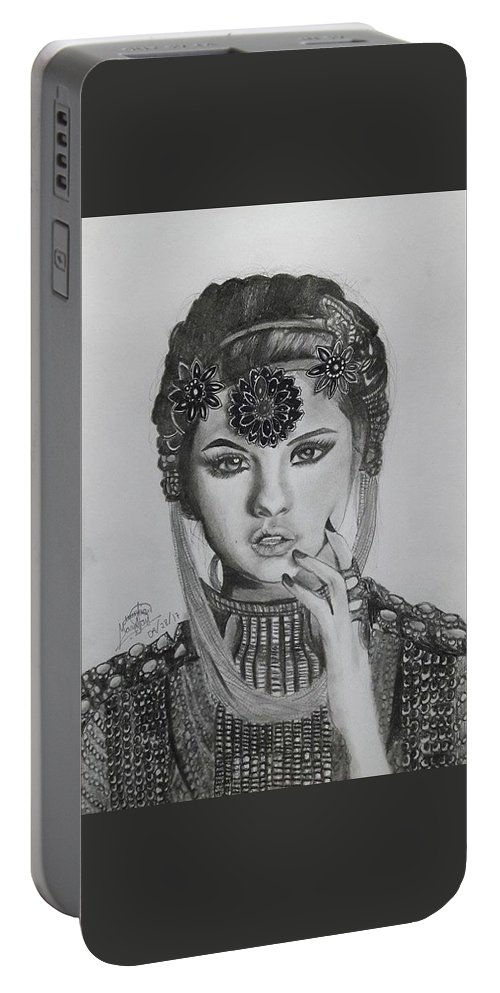 Selena Gomez Portable Battery Charger featuring the drawing Selena Gomez by Mary Joy Asuncion