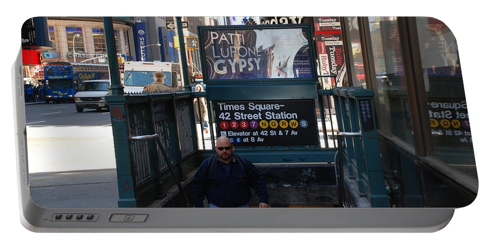 Subay Portable Battery Charger featuring the photograph Self At Subway Stairs by Rob Hans