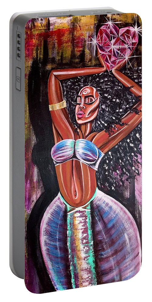 Lion Portable Battery Charger featuring the painting Self Made Royalty by Artist RiA