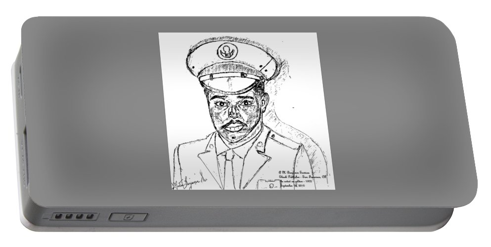 Soldier Portable Battery Charger featuring the digital art Self Portrait As Soldier by Anthony Benjamin