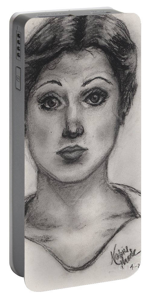 Nadine Portable Battery Charger featuring the drawing Self Portrait At Age 18 by Nadine Rippelmeyer
