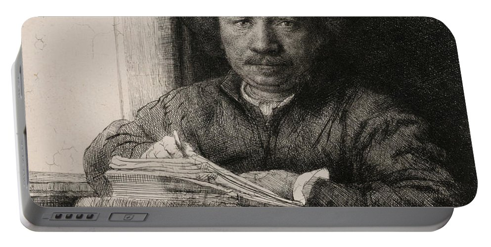 Rembrandt Portable Battery Charger featuring the relief Self-portrait Drawing At A Window by Rembrandt