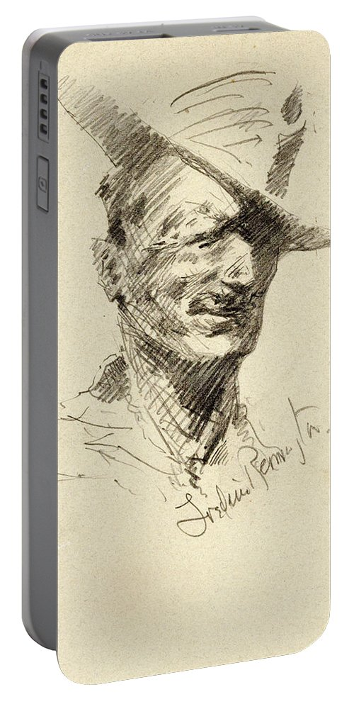 Self Portrait Portable Battery Charger featuring the painting Self Portrait Of Frederic Remington by Frederic Sackrider Remington