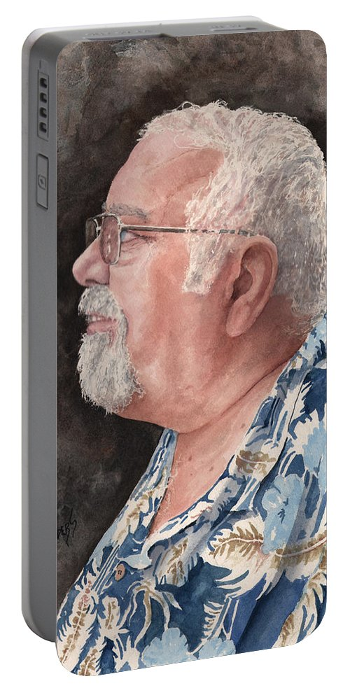 Portable Battery Charger featuring the painting Self Portrait by Sam Sidders