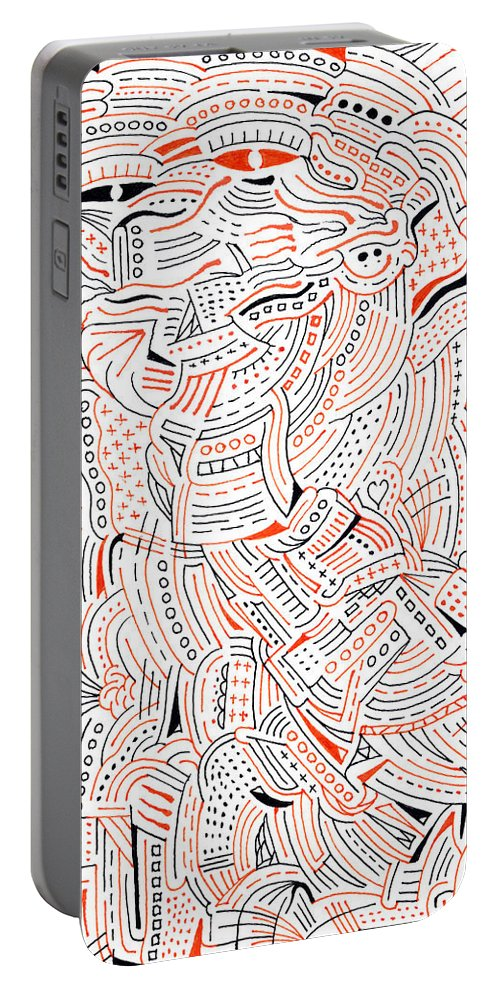Mazes Portable Battery Charger featuring the drawing Self Portrait by Steven Natanson