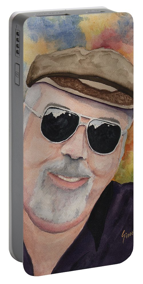 Sam Portable Battery Charger featuring the painting Self Portrait With Sunglasses by Sam Sidders