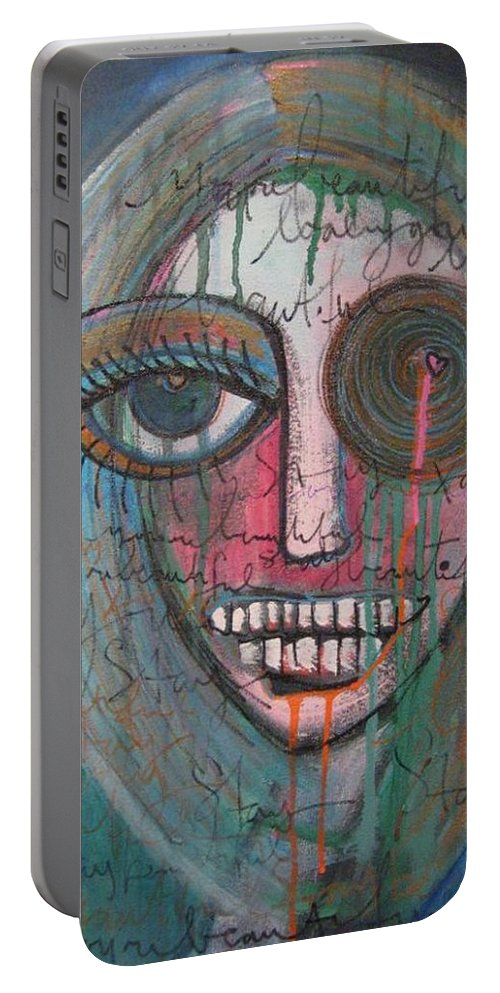 Self Portraits Portable Battery Charger featuring the painting Self Portrait Youre Beautiful by Laurie Maves ART