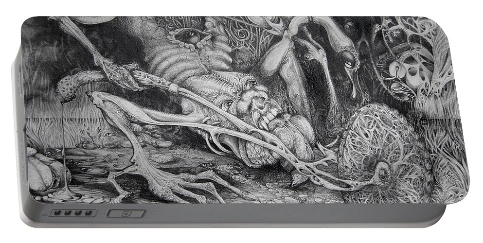 Surrealism Portable Battery Charger featuring the drawing Selfpropelled Beastie Seeder by Otto Rapp
