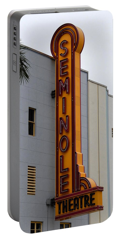 Fine Art Photography Portable Battery Charger featuring the photograph Seminole Theatre 1940 by David Lee Thompson