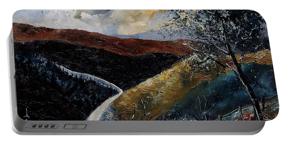 River Portable Battery Charger featuring the painting Semois Valley by Pol Ledent