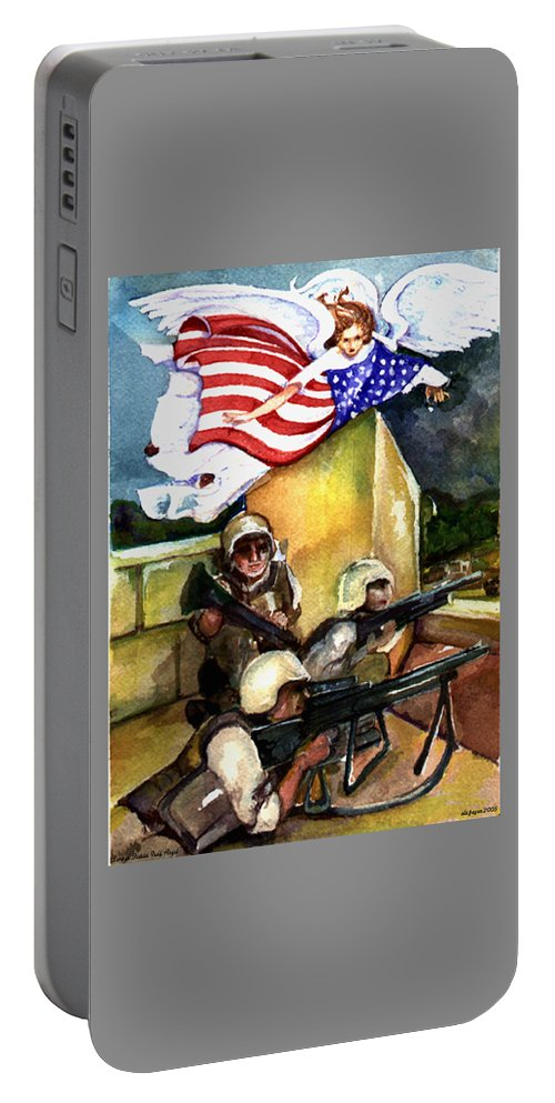 Elle Fagan Portable Battery Charger featuring the painting Semper Fideles - Iraq by Elle Smith Fagan