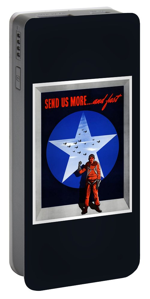 Air Force Portable Battery Charger featuring the painting Send Us More And Fast -- Ww2 by War Is Hell Store
