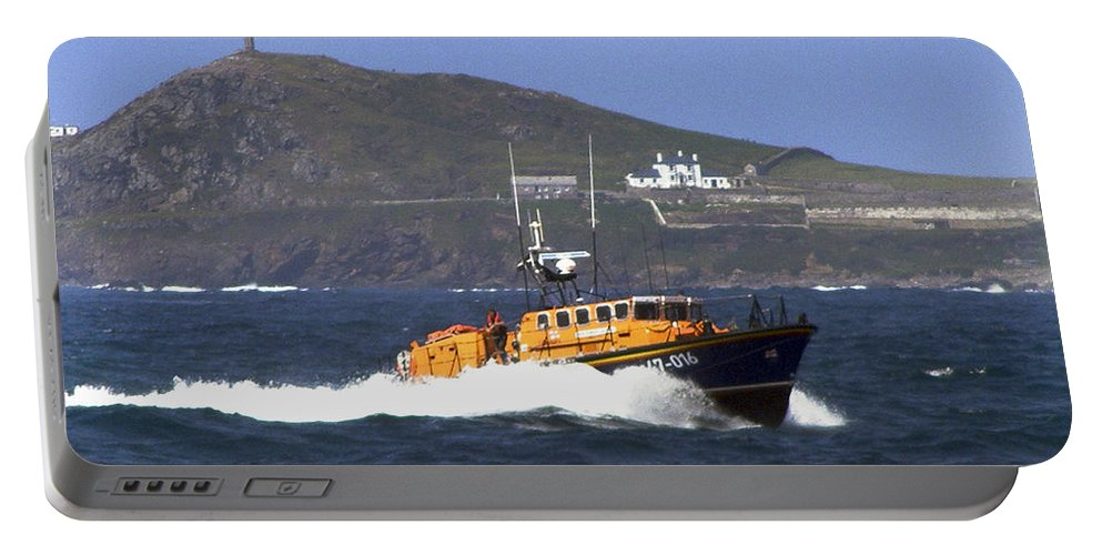 Rnli Portable Battery Charger featuring the photograph Sennen Cove Lifeboat by Terri Waters