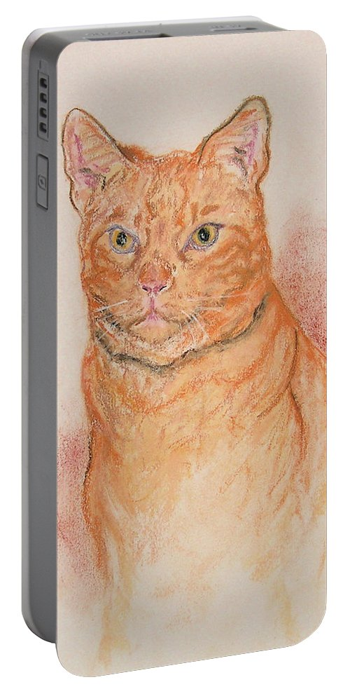 Cat Portable Battery Charger featuring the drawing Sentinel by Cori Solomon