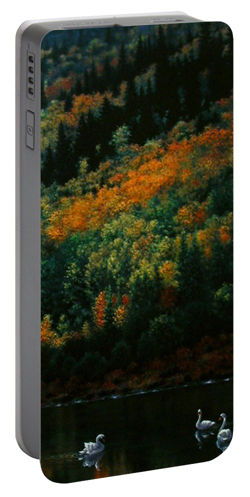 Scenic Portable Battery Charger featuring the painting Sentinels Of September Serenity by Stephen Lucas
