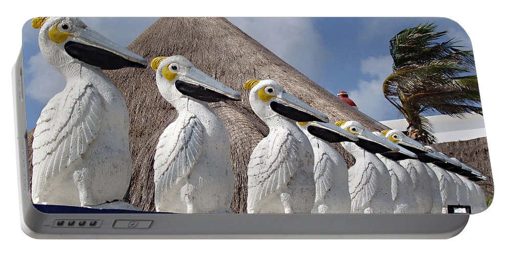 Sentry Pelicans Portable Battery Charger featuring the photograph Sentry Pelicans by Ellen Henneke