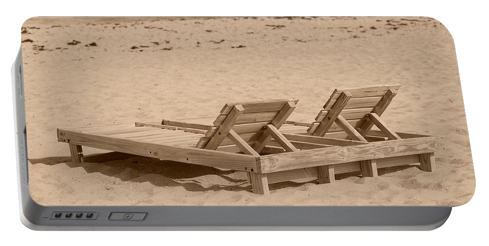 Chez Lounge Portable Battery Charger featuring the photograph Sepia Chairs by Rob Hans