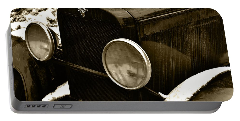 Old Truck Portable Battery Charger featuring the photograph Sepia Chevy by Ed Ostrander