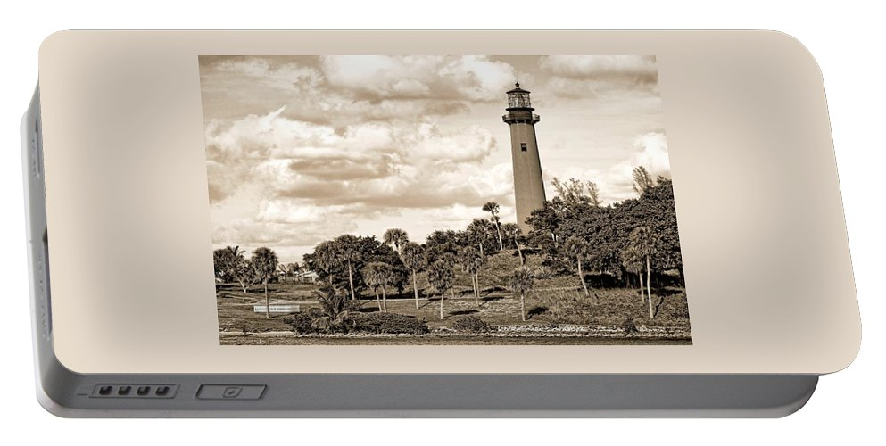 Beacon Portable Battery Charger featuring the photograph Sepia Lighthouse by Rudy Umans