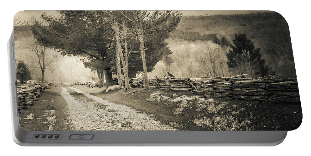 Landscape Portable Battery Charger featuring the photograph Sepia Road by Jim Love
