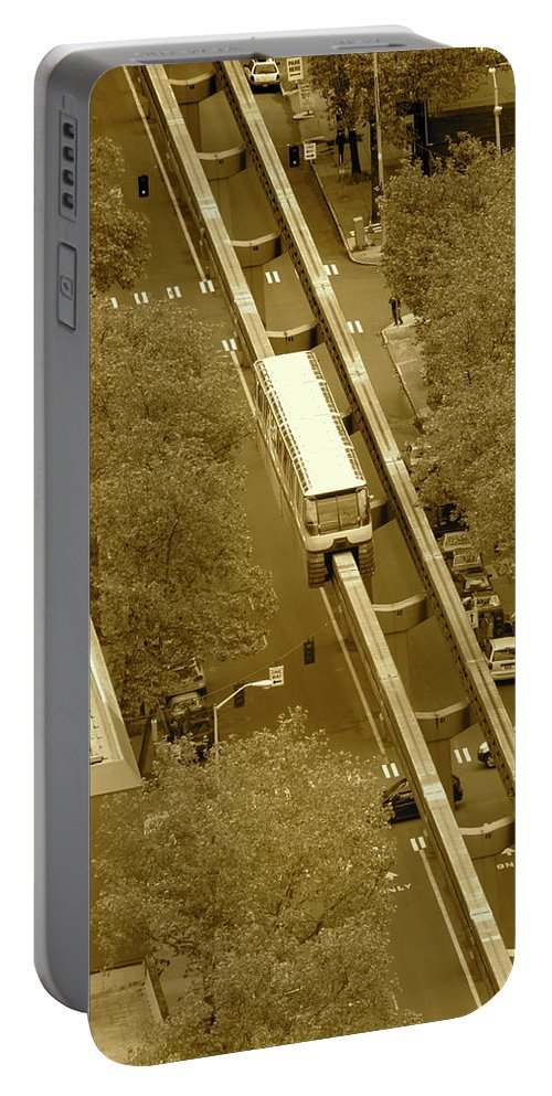 City Portable Battery Charger featuring the photograph Sepia Seattle by Laddie Halupa