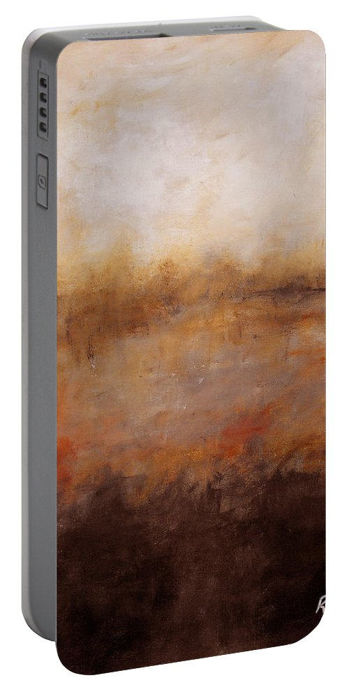 Abstract Portable Battery Charger featuring the painting Sepia Wetlands by Ruth Palmer