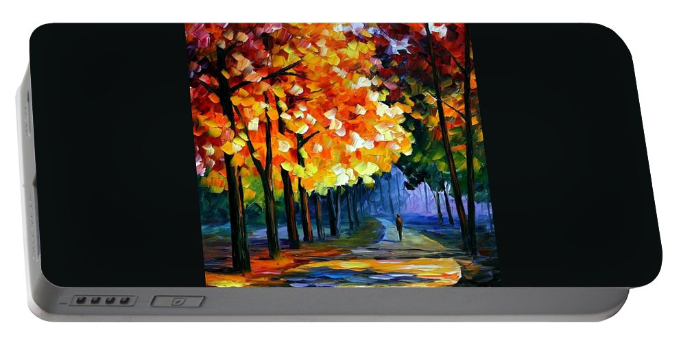 Afremov Portable Battery Charger featuring the painting September by Leonid Afremov