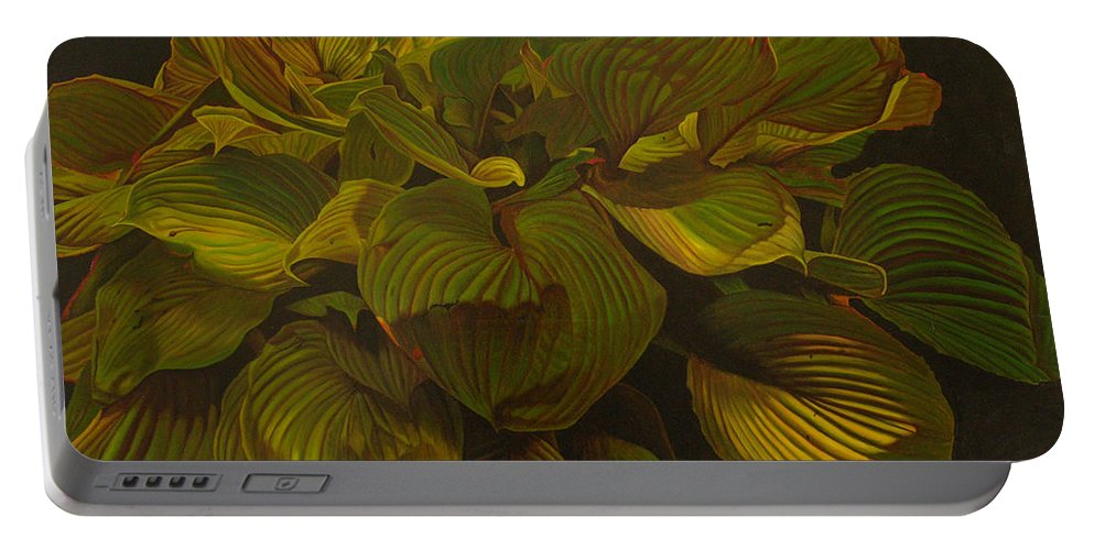 Plant Portable Battery Charger featuring the painting September Night by Thu Nguyen