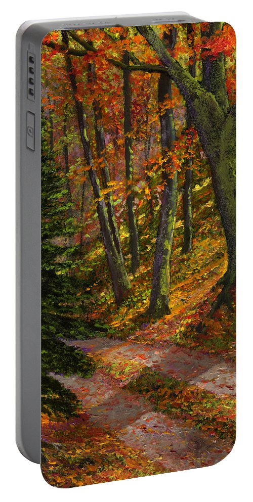 Road In The Woods Portable Battery Charger featuring the painting September Road by Frank Wilson