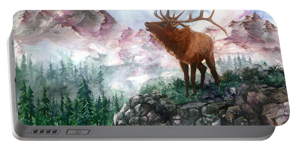 Elk Portable Battery Charger featuring the painting September Song by Sherry Shipley