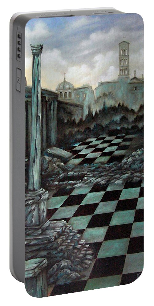 Surreal Portable Battery Charger featuring the painting Sepulchre by Valerie Vescovi