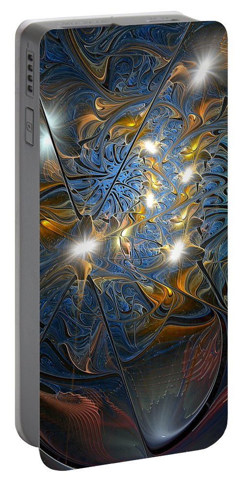 Abstract Portable Battery Charger featuring the digital art Serendipitous Trope by Casey Kotas