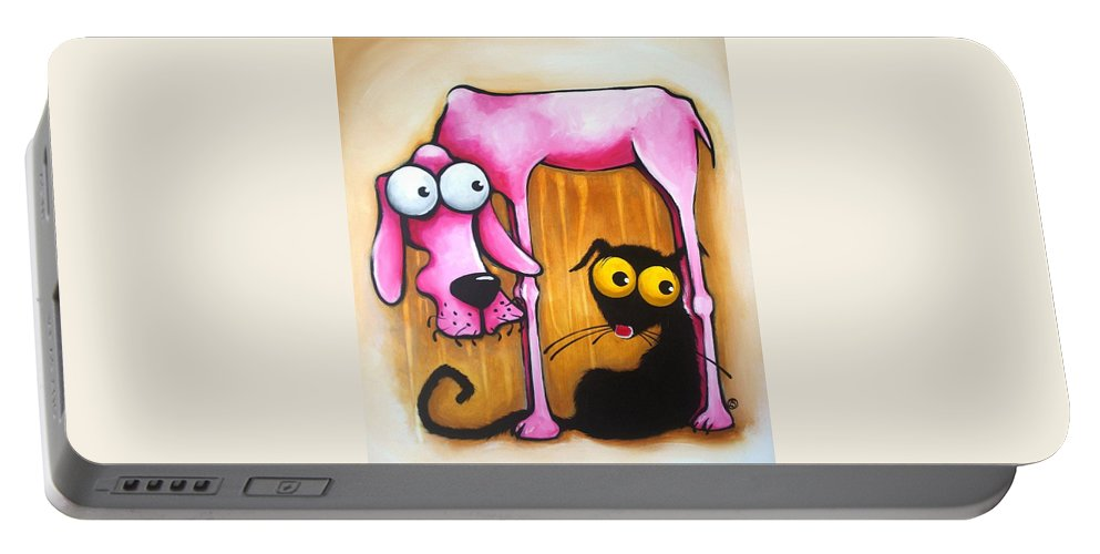 Stressie Cat Portable Battery Charger featuring the painting Serendipity by Lucia Stewart