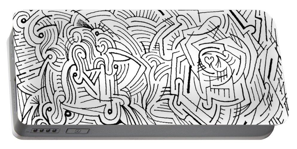 Mazes Portable Battery Charger featuring the drawing Serendipity by Steven Natanson