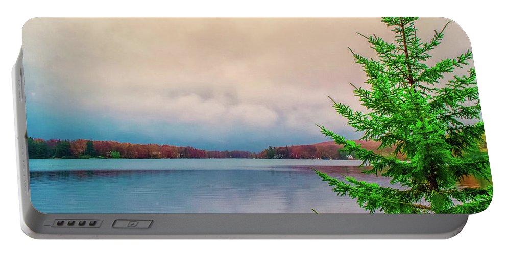 America Portable Battery Charger featuring the photograph Serene Lake Harmony by Srinivasan Venkatarajan