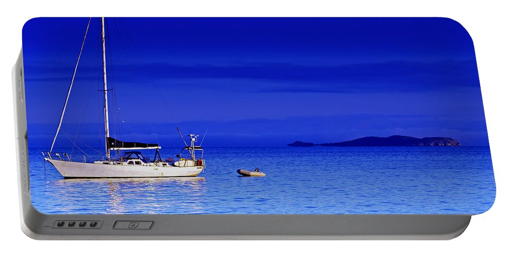 Transportation. Boats Portable Battery Charger featuring the photograph Serene Seas by Holly Kempe