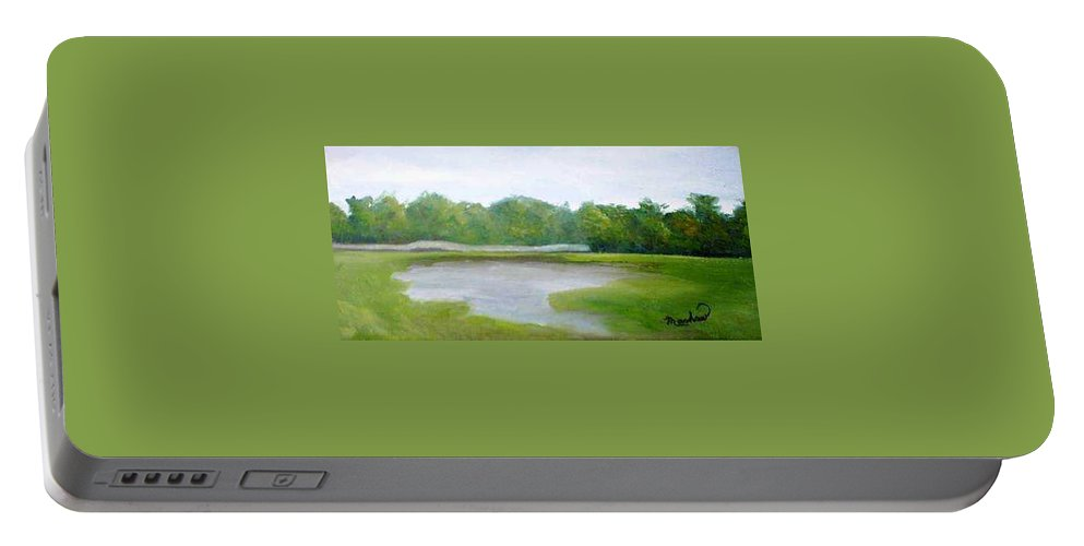 Landscape Portable Battery Charger featuring the painting Serene Vista by Sheila Mashaw