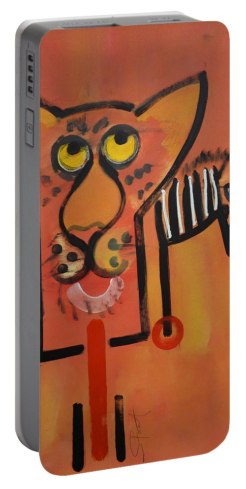 Big Cat Portable Battery Charger featuring the painting Serengeti Cat by Charles Stuart