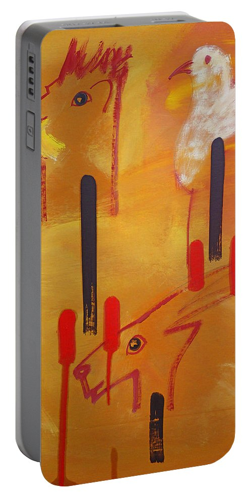 Lion Portable Battery Charger featuring the painting Serengeti by Charles Stuart