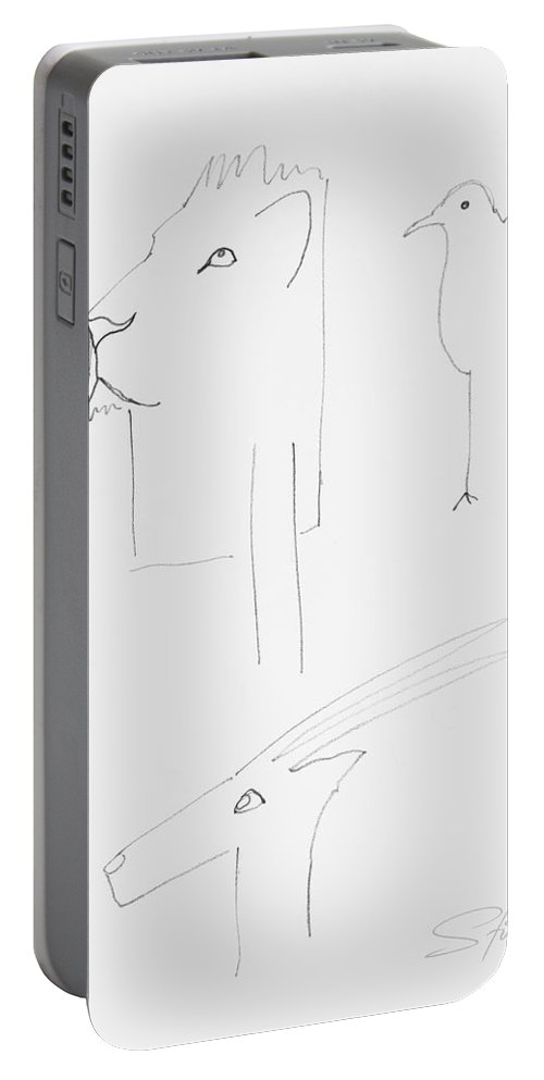 Serengeti Cat Portable Battery Charger featuring the painting Serengeti Drawing by Charles Stuart