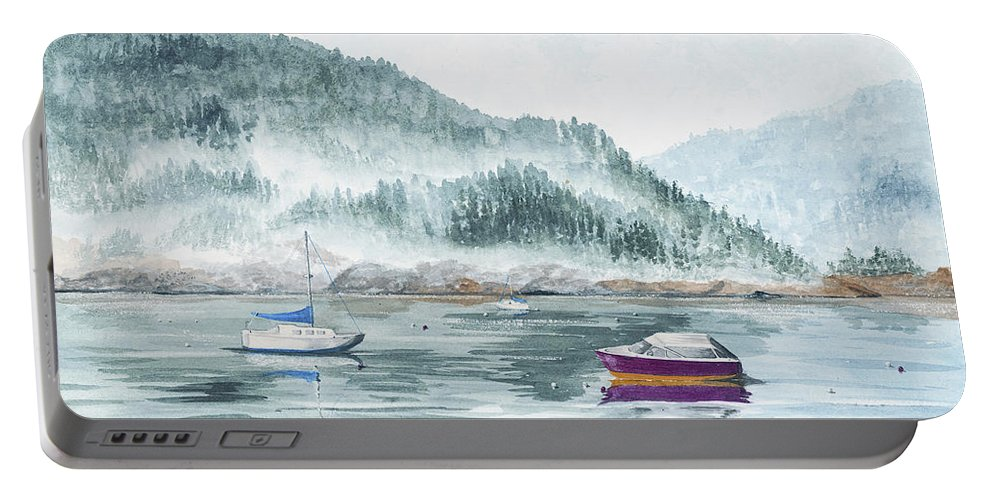 Sailing Portable Battery Charger featuring the painting Serenity Bay by Mary Tuomi