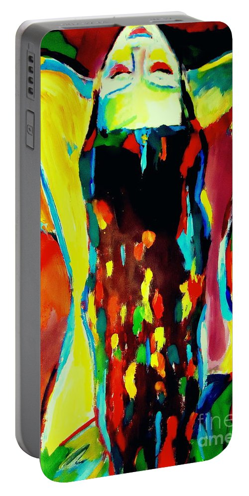 Nude Figures Portable Battery Charger featuring the painting Serenity by Helena Wierzbicki