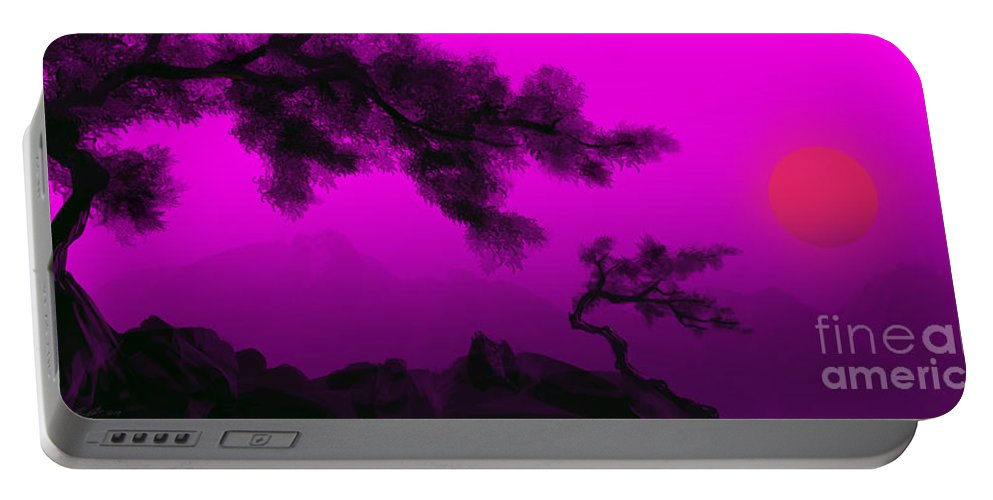 Japanese; Sunset; Mountains; Trees; Rising; Sun; Contemporary; Purple; Pink;sunrise; Sunset Portable Battery Charger featuring the painting Serenity by James Christopher Hill