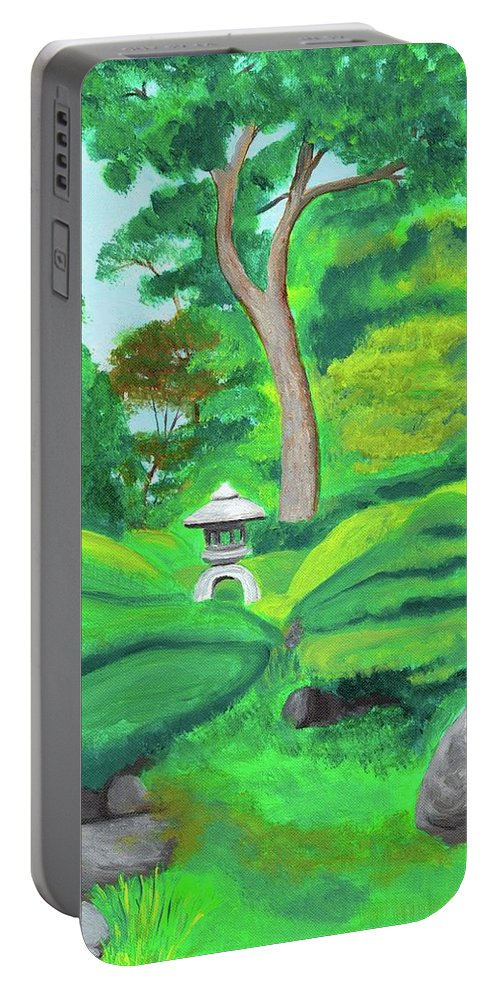 Japanese Tea Garden Portable Battery Charger featuring the painting Serenity by Laura Zoellner