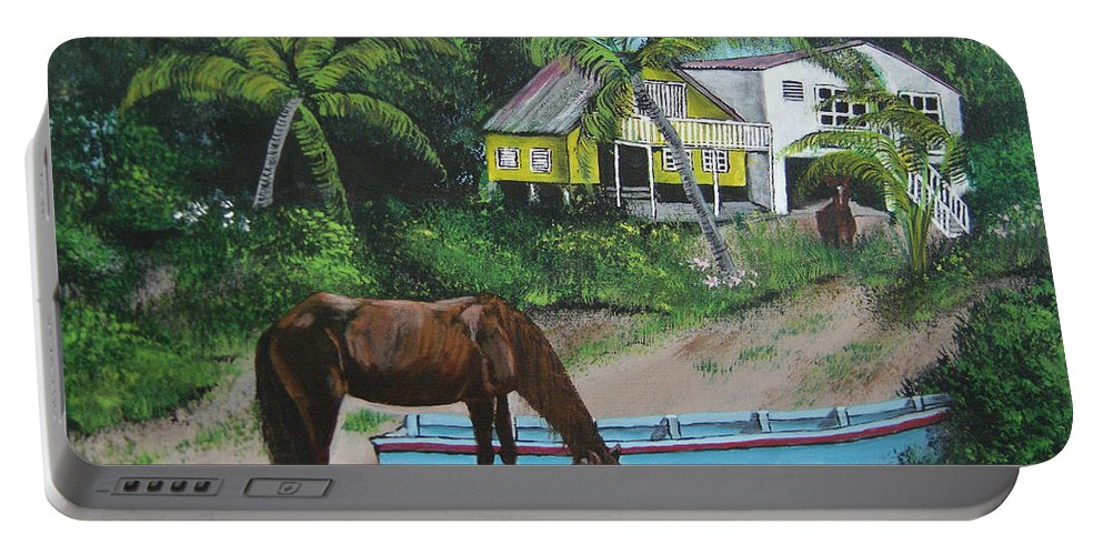 Aguadilla Portable Battery Charger featuring the painting Serenity by Luis F Rodriguez