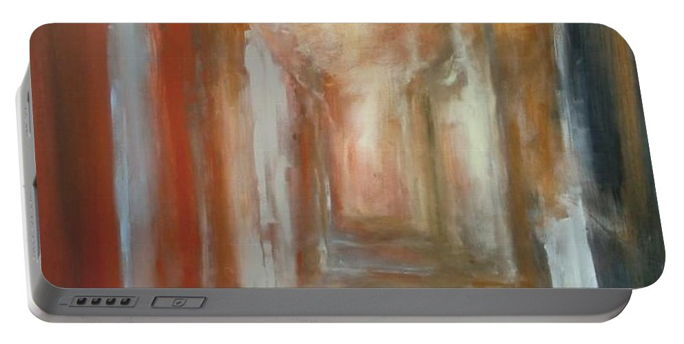 Abstract Portable Battery Charger featuring the painting Serenity by Rome Matikonyte