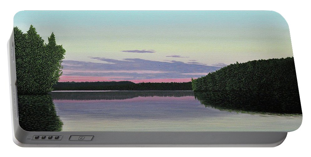 Landscape Portable Battery Charger featuring the painting Serenity Skies by Kenneth M Kirsch